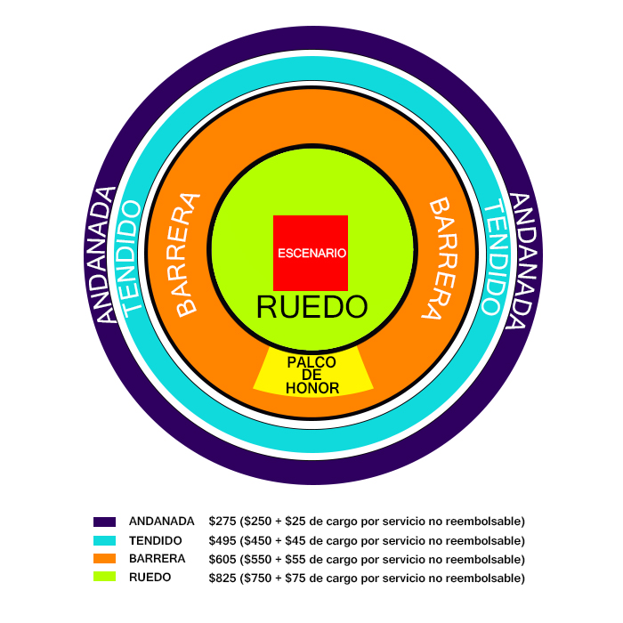 Este es el mapa para conocer los lugares disponibles para Babasonicos este próximo 20 de noviembre en la Plaza de Toros Santa María de Querétaro, México.