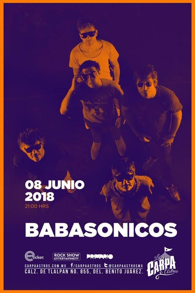 Babasonicos en Carpa Astros el 9 de junio de 2018
